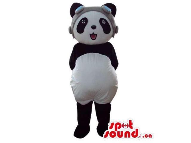 Cute Panda Bear Plush Animal Canadian SpotSound Mascot Dressed In A Pilot Hat