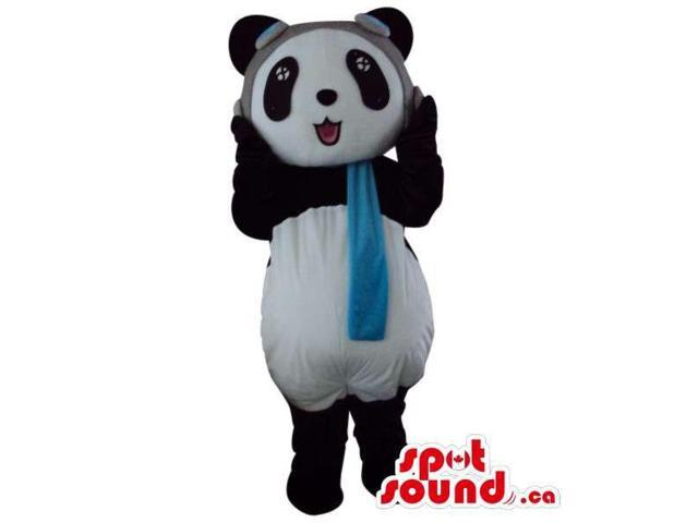 Cute Panda Bear Plush Animal Canadian SpotSound Mascot Dressed In Pilot Hat And Scarf