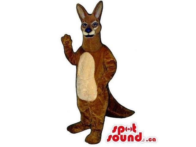 Customised Brown Kangaroo Animal Canadian SpotSound Mascot With Beige Belly For Logos