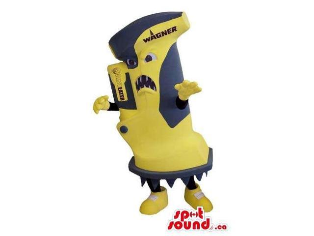 Great Scary Yellow And Grey Tool Canadian SpotSound Mascot With A Brand Name