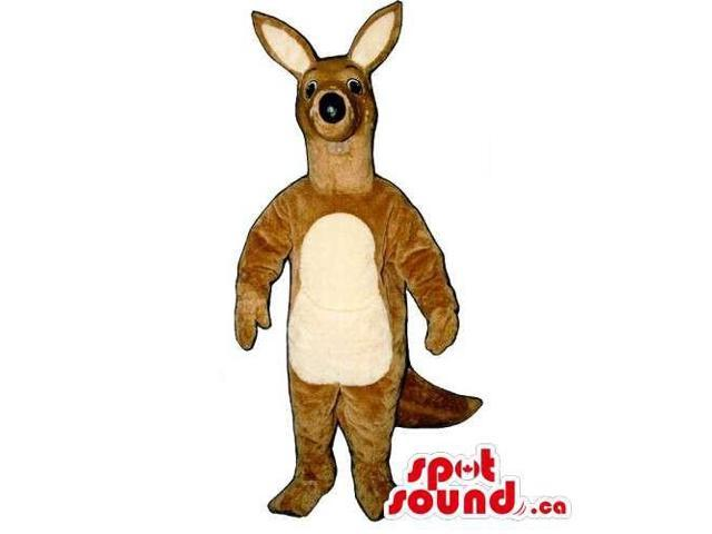 Customised Light Brown Kangaroo Animal Canadian SpotSound Mascot With Beige Belly