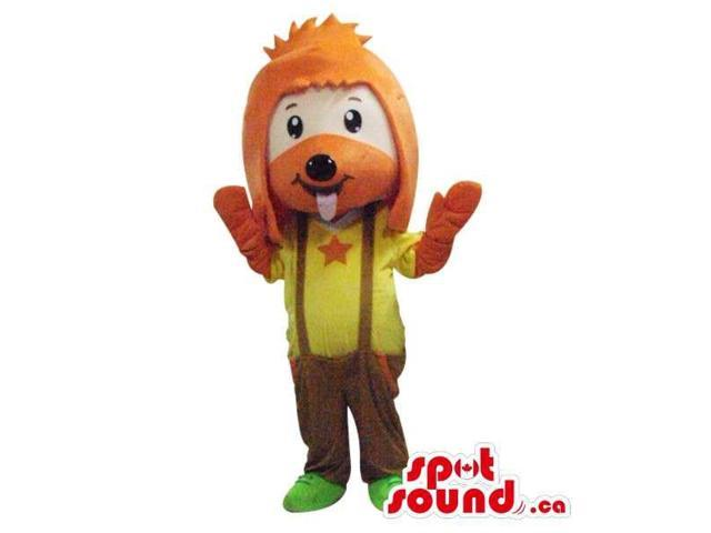 Cute Dog Plush Canadian SpotSound Mascot With Large Orange Hair And Star T-Shirt