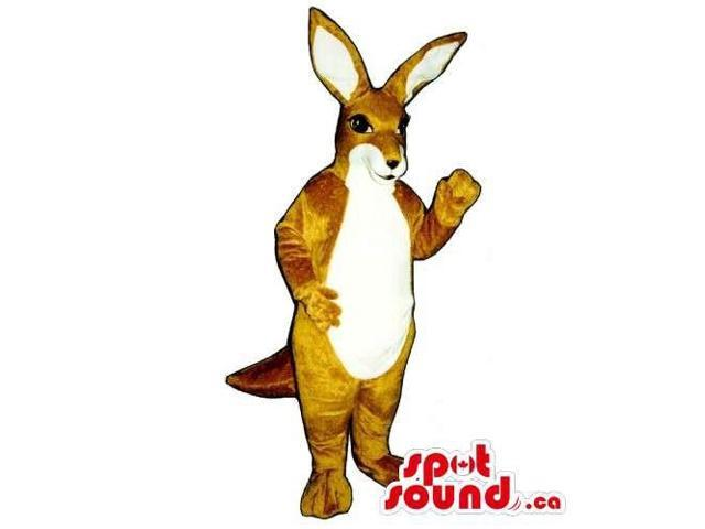 Customised Brown Kangaroo Animal Canadian SpotSound Mascot With White Belly
