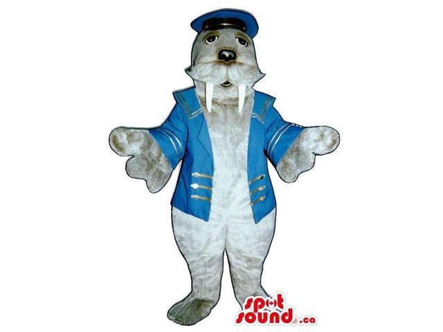 Customised Grey Seal Plush Canadian SpotSound Mascot Dressed In Boat Captain Clothes