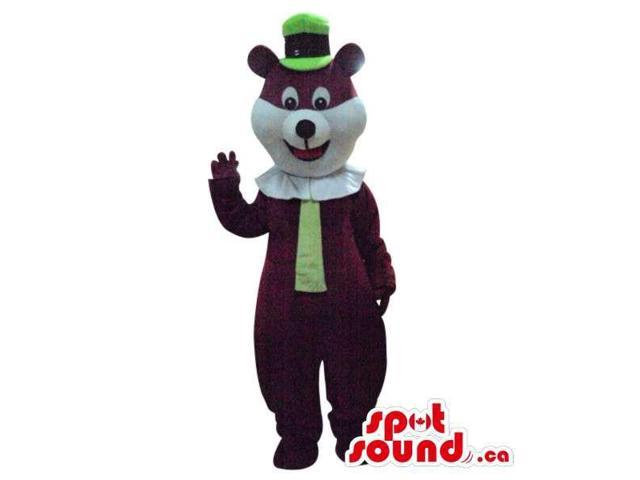 Brown And White Bear Plush Canadian SpotSound Mascot Dressed In A Green Hat And Tie