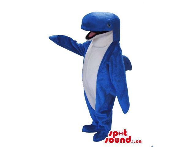 Happy Blue Whale Canadian SpotSound Mascot With A White Belly And Bottled Nose