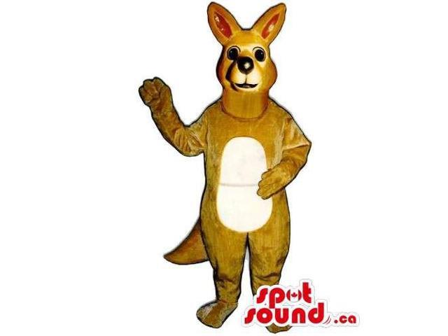 Customised Brown Kangaroo Animal Canadian SpotSound Mascot With Beige Belly