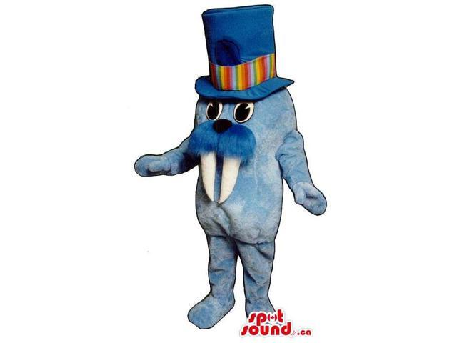 Blue Small Seal Plush Canadian SpotSound Mascot Dressed In A Colourful Top Hat