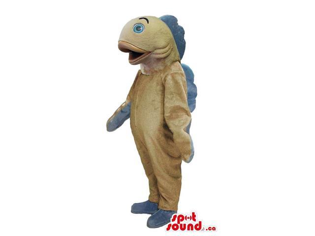 Customised Beige Fish Plush Canadian SpotSound Mascot With Grey Fins