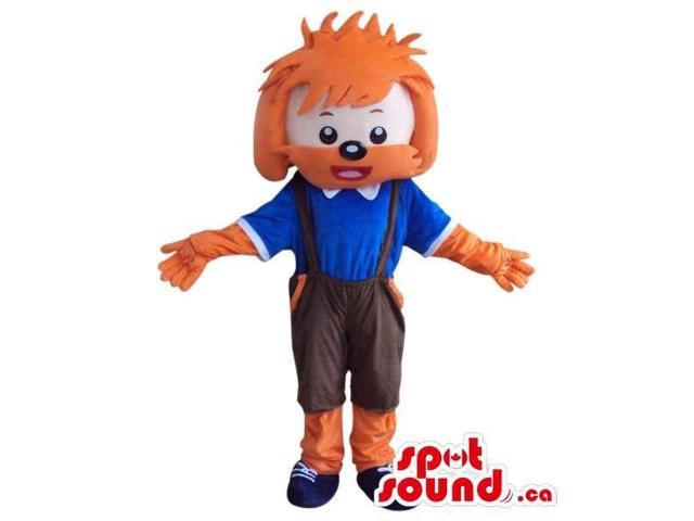 Cute Dog Plush Canadian SpotSound Mascot With Large Orange Hairdo And Blue Shirt