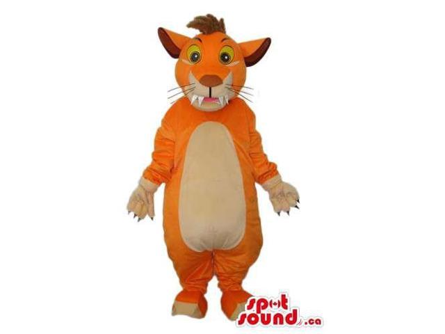 Customised Orange Young Lion Plush Canadian SpotSound Mascot With A White Belly