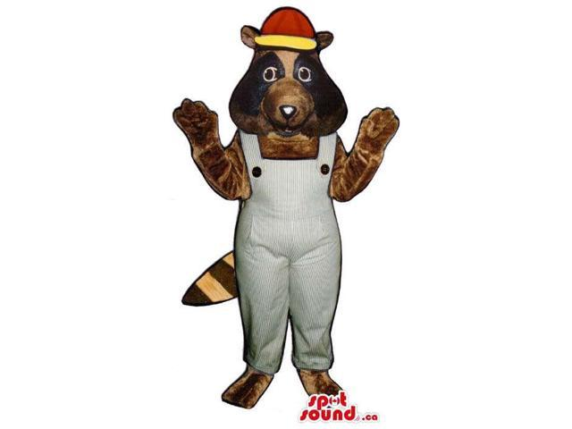 Brown Raccoon Plush Canadian SpotSound Mascot Dressed In Grey Overalls And A Cap