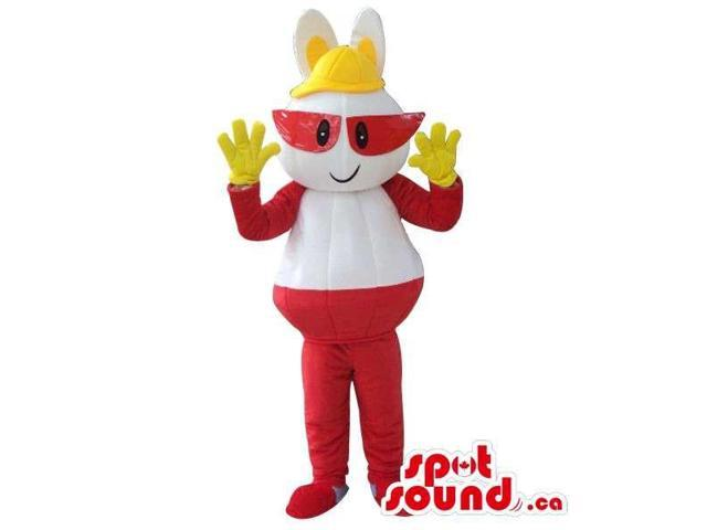 Red And White Plush Canadian SpotSound Mascot With Red Glasses And Yellow Hat