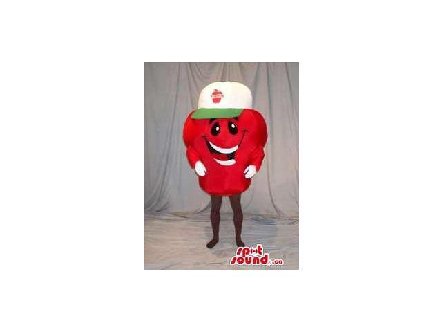 Peculiar Red Berry Fruit Canadian SpotSound Mascot With A Cute Face In A Cap With Logo