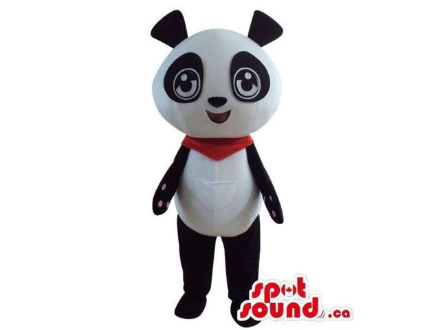 Cute Panda Bear Plush Animal Canadian SpotSound Mascot Dressed In A Red Neck Scarf