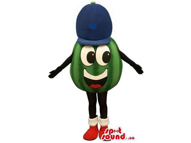 Peculiar Watermelon Canadian SpotSound Mascot With A Cute Face In A Blue Cap