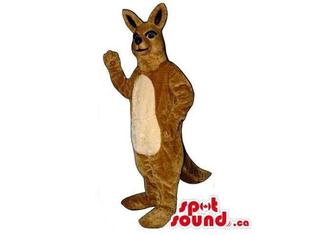 Brown Kangaroo Canadian SpotSound Mascot With Beige Belly And Black Ears