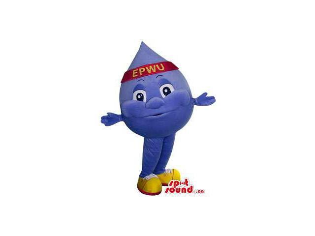 Customised Blue Drop Of Water Canadian SpotSound Mascot With A Headband With Text
