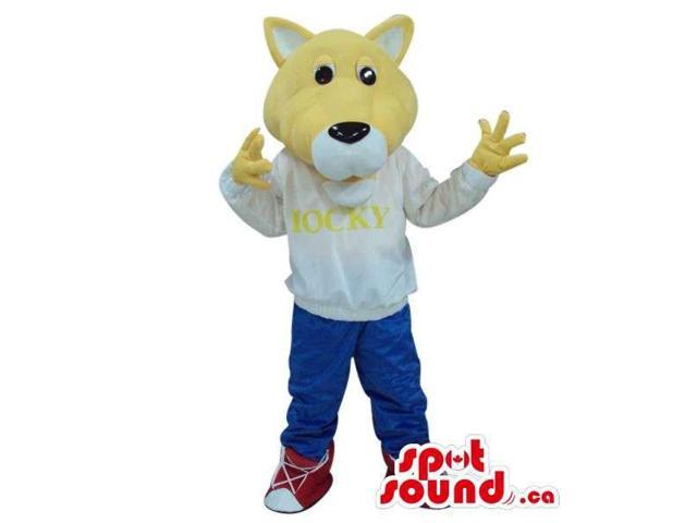 Customised Yellow Bear Plush Canadian SpotSound Mascot Dressed In Gear With Text