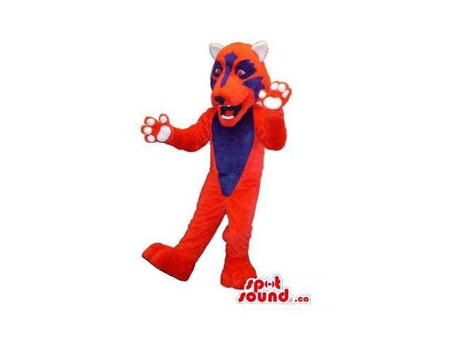 Customised Flashy Red Panther Plush Canadian SpotSound Mascot With A Blue Face