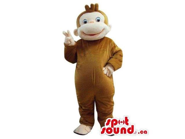 Cute Cartoon Brown Monkey Animal Plush Canadian SpotSound Mascot With Beige Face
