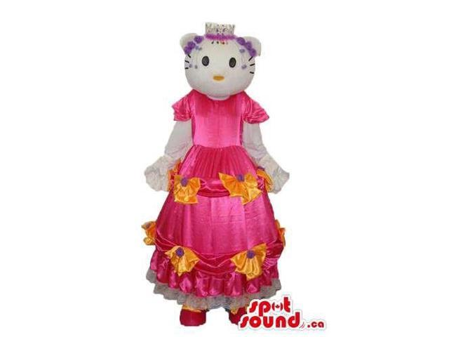 Kitty Cat Cartoon Canadian SpotSound Mascot With A Long Pink Dress With Flowers