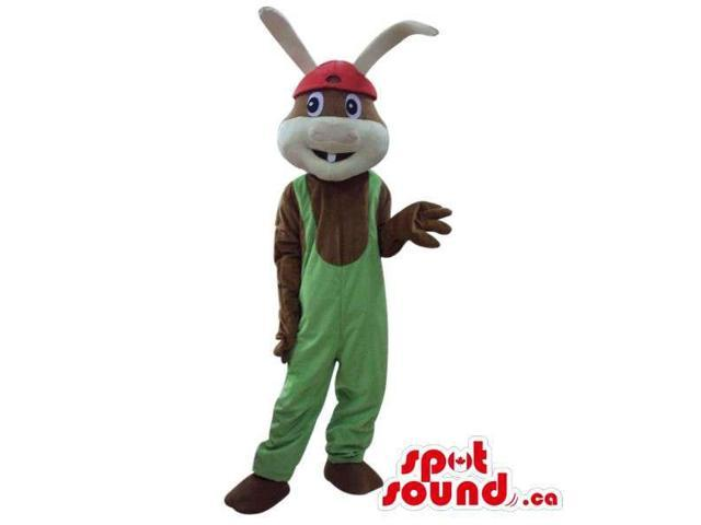 Cute Brown Bunny Plush Canadian SpotSound Mascot With Long Ears, Dressed In Overalls