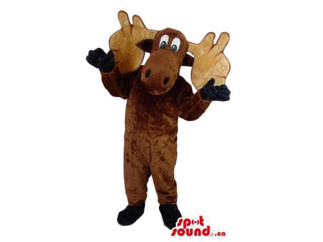 Cute Brown Moose Plush Canadian SpotSound Mascot With Huge Beige Horns