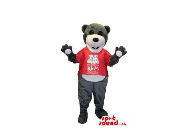 Grey Teddy Bear Plush Canadian SpotSound Mascot Dressed In A Red T-Shirt With A Logo