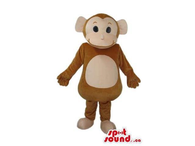 Cute Brown Monkey Animal Plush Canadian SpotSound Mascot With Beige Belly