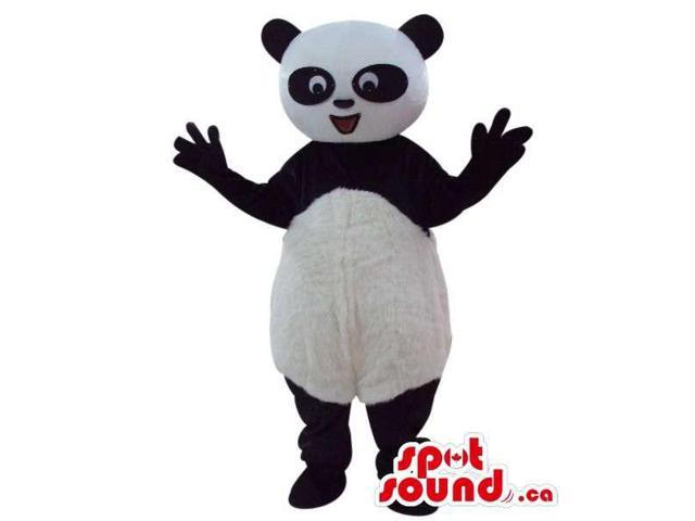 Panda Bear Plush Canadian SpotSound Mascot With Round Belly And Oval Eye Circles