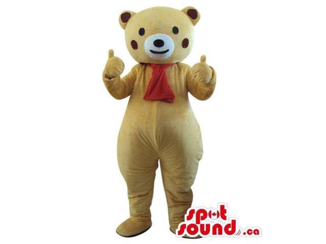 Beige Bear Plush Canadian SpotSound Mascot With Red Cheeks, Dressed In A Red Scar