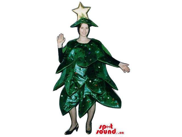 Large Christmas Tree Adult Size Plush Costume With A Star Hat