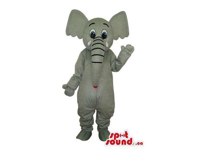 Cartoon Grey Elephant Plush Canadian SpotSound Mascot With Long Trunk