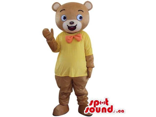 Brown Bear Plush Canadian SpotSound Mascot Dressed In A Now Tie And Yellow T-Shirt