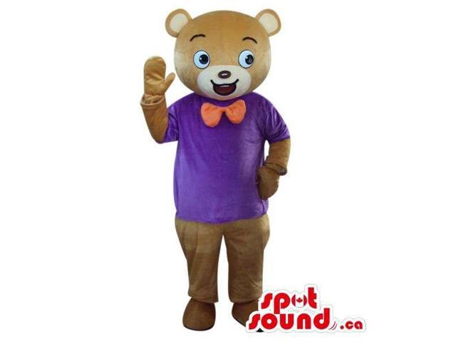 Brown Bear Plush Canadian SpotSound Mascot Dressed In A Now Tie And Purple T-Shirt
