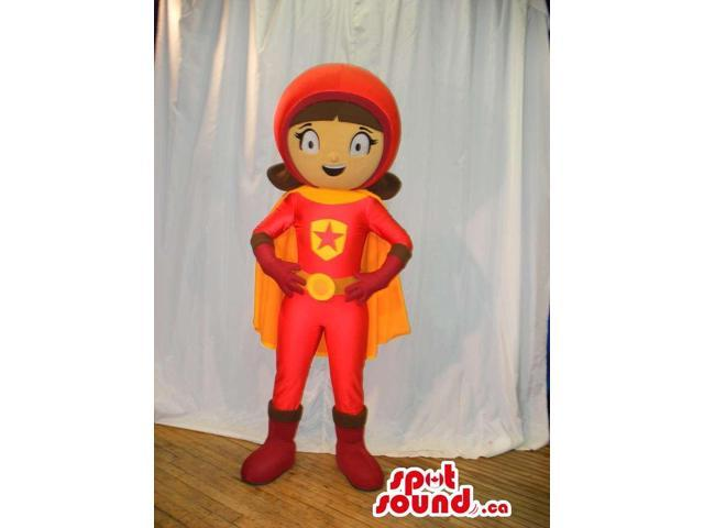 Flashy Girl Super Hero Canadian SpotSound Mascot With A Cape And A Star
