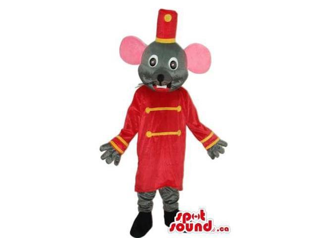 Cute Grey Mouse Plush Canadian SpotSound Mascot Dressed In Red Circus Clothes