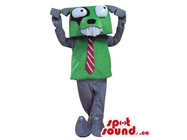 Cute Grey Dog Plush Canadian SpotSound Mascot With A Squared Head Dressed In A Tie