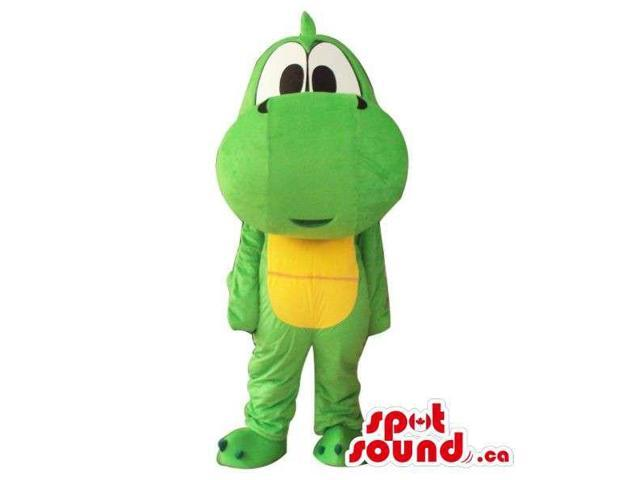 Cute Cartoon Green And Yellow Dinosaur Plush Canadian SpotSound Mascot With Large Head