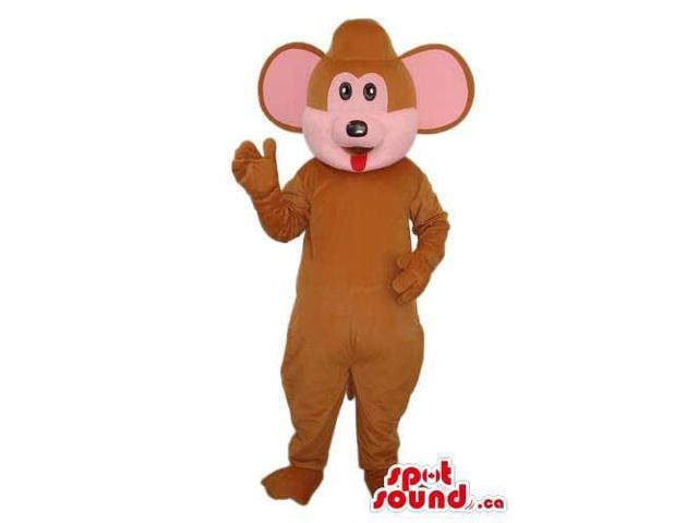Cartoon Cute Brown Mouse Plush Canadian SpotSound Mascot With Pink Round Ears