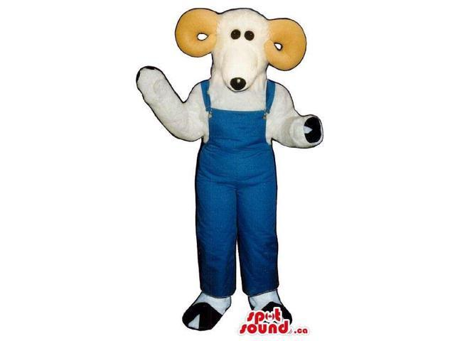 All White Goat Plush Canadian SpotSound Mascot Dressed In Blue Overalls