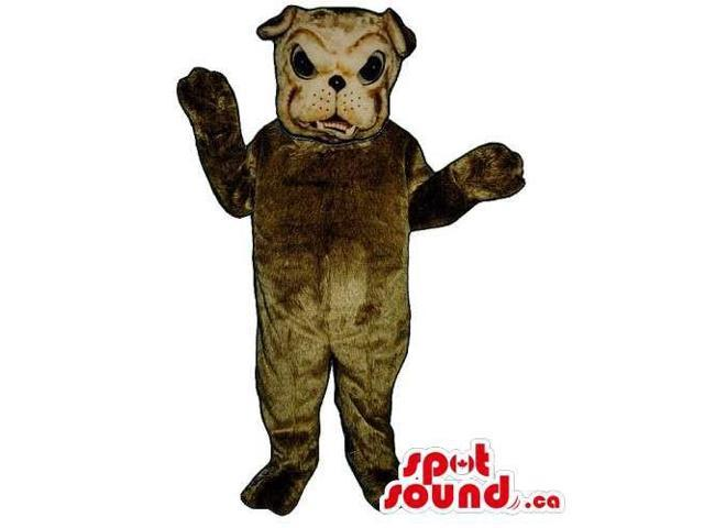 Customised All Brown Bulldog Canadian SpotSound Mascot With Angry Face