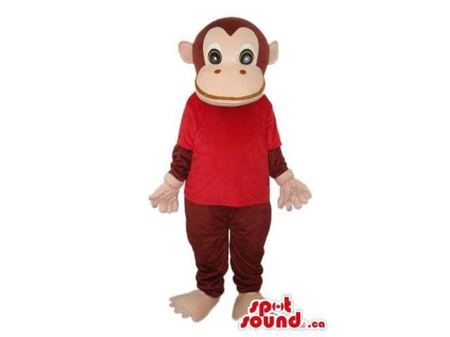 Cartoon Cute Brown Monkey Plush Canadian SpotSound Mascot With A Red T-Shirt
