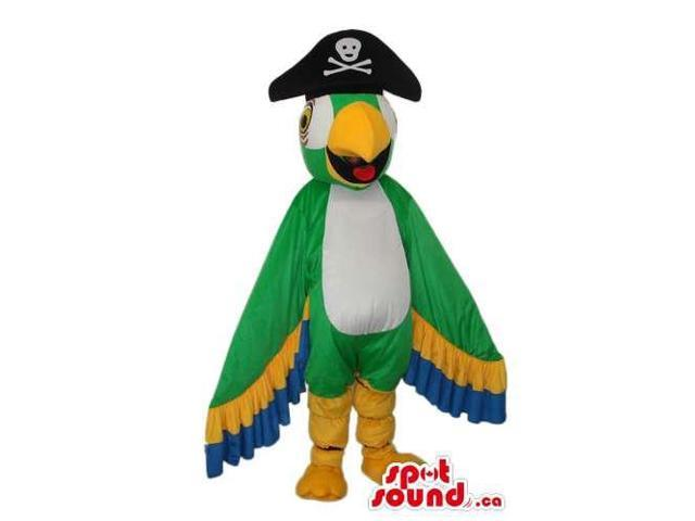 Bright And Flashy Green Parrot Plush Canadian SpotSound Mascot With Pirate Hat