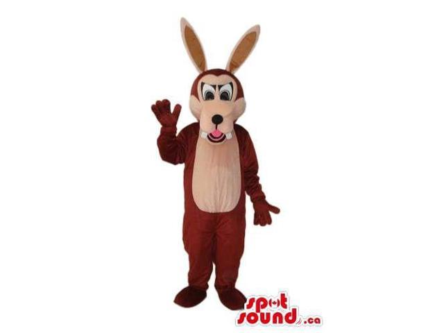 Cartoon Cute Brown Wolf Plush Canadian SpotSound Mascot With Long Ears