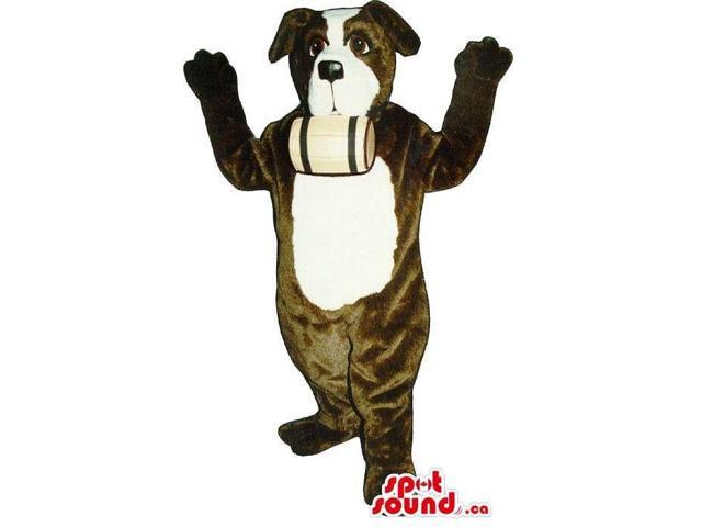Customised Brown And White Saint Bernard Dog Canadian SpotSound Mascot