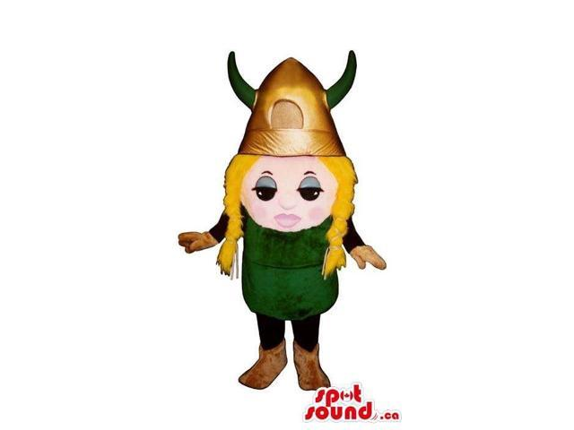 Viking Small Blond Girl Character Canadian SpotSound Mascot In A Large Golden Helmet
