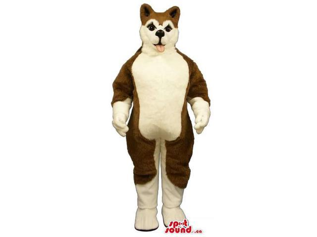 Customised Brown And White Husky Breed Dog Canadian SpotSound Mascot