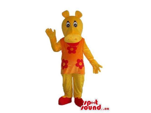 Cute Yellow Hippopotamus Girl Canadian SpotSound Mascot Dressed In An Orange Dress